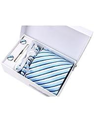Coffret Cadeau Vancouver - Cravate à rayures blanches, bleu ciel et bleu marine, boutons de manchette, pince à cravate, pochette de costume