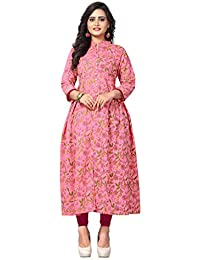 Kurtis For Women (Latest Low Price New Style Party Wear Pink Color, Cotton Fabrics Kurtis For Womens/Girls)