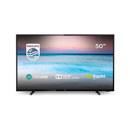 Televisor LED Philips 50PUS6504/12 Smart TV de 126 cm (50 Pulgadas) con tecnología led, 4K UHD, Pixel Precise Ultra HD, Dolby Vision, Dolby Atmos y Smart TV, Color Negro