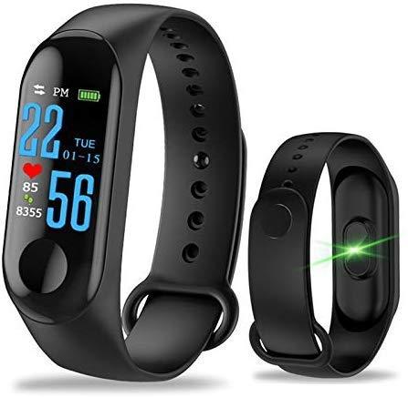 M2-Tec Fitness Armband mit Pulsmesser I Wasserdicht IP67 I Fitness Tracker Smartwatch Aktivitätstracker I Unisex (Schwarz)