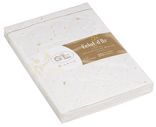 G.Lalo 22500L Umschläge (perfekt für Ihre Einladungen, säurefrei, C6, 16,2 x 11,4 cm, 20 Umschläge, 100 g) weiß mit Blattgold