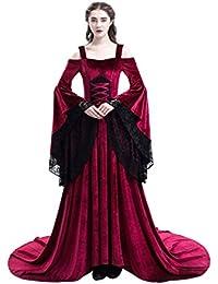 Halloween Medieval Lace Epaule Nu Robe de Soiree Deguisement Reine Longue Robe avec Manches Flares