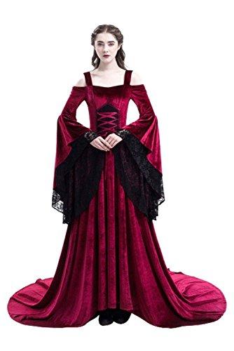 tianxinxishop Vestido de Traje Medieval sin Hombros Vestido Renacentista para Mmujer Vestido Largo de Estilo Victoriano Gotico con Manga Larga de Llamarada