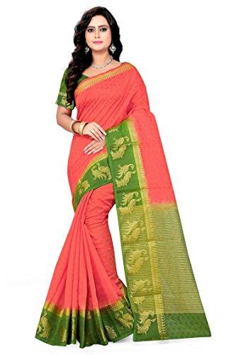 Riva Enterprise women's Arrival festival cotton silk orange color saree (Riva_223)