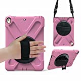 VMAE iPad Air 2 Tablet Case, Hybrid Armor Defender Cover, Full Body Protective Case with Hand Strap and Shoulder Strap for Apple iPad Air 2/iPad 6 2014 Model - Pink