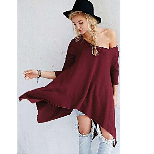 Femmes Sexy manches longues bretelles en vrac irrégulière longue chemise massif Blouse du vin