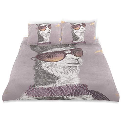 SUNOP Bettwaren & Bettwäsche, Bettlaken & Kissenbezüge, Spannbetttücher für Doppelbett, 100% gebürstete Baumwolle, Biber, Bettbezug und 2 Kissenbezüge, Llama Alpaka in Sonnenbrille