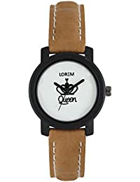 The Shopoholic Analog Round White Dial With Brown Leather Belt Watches For Women-Watches For Girls