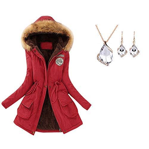 YunYoud Damen Warm Große Größe Mantel Frau Winter Lange Mit Kapuze Jacke Slim Fit Lange Ärmel Jacken Mode Kapuzenpullover Einfarbig Reißverschluss Winterjacke Beiläufig Outwear (XXXL, Rot)