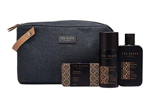 TED BAKER Mens Washbag Gift Set HAIR & BODY WASH 200ML• BODY SPRAY 150ML• SOAP 150G