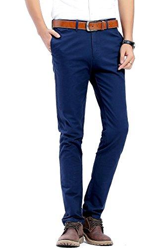 Pantalones casuales de hombre, 100% algodón, Slim Fit, pantalones estilo chino, Marino, 40