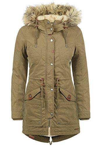 DESIRES Liv Damen Parka lange Jacke Winter-Mantel mit Fell-Kapuze und Teddy-Futter aus hochwertiger Baumwollmischung, Größe:L, Farbe:Shitake Br (5323)