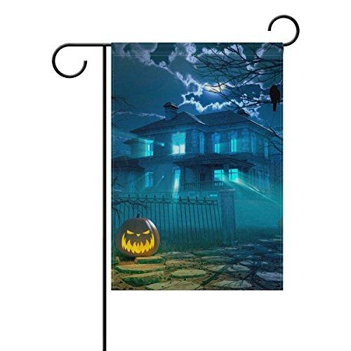 Ghost House Flag (My Täglich Halloween Nacht Scary House Crow und Kürbis Deko doppelseitig Garten Flagge 30,5x 45,7cm, Polyester, multi, 28 x 40)