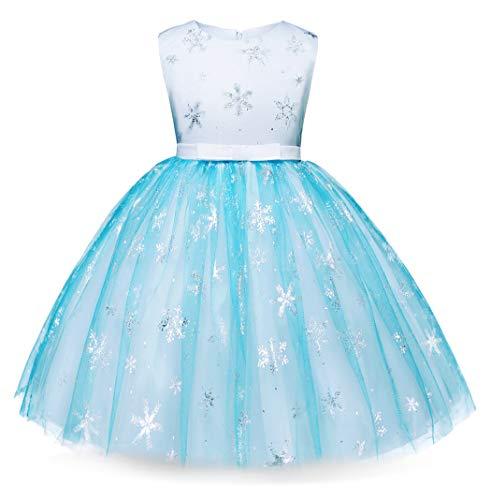 �m Prinzessin Kleid Eiskönigin für Kinder Mädchen Kleider Halloween Cosplay Geburtstag Party Verrücktes Kleid Karneval Zeremonie Ankleiden ()