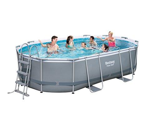 Bestway Power Steel Frame Pool Set, oval 488x305x107 cm Stahlrahmenpool-Set mit Filterpumpe + Zubehör, grau