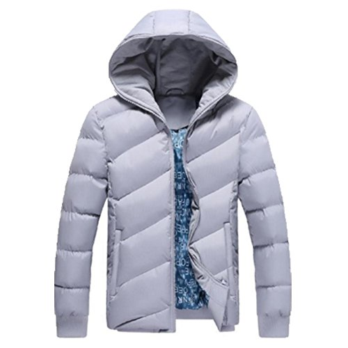 OHmais homme parka manteau d'hiver veste à capuche fourré Gris