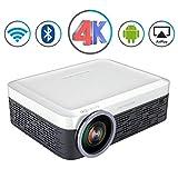 Proiettore Portatile da 3000 Lumen Full HD LED LCD Android WiFi Video Bluetooth Airplay Miracast Proiettore per Home Theater Wireless 4K TV Intelligente,White