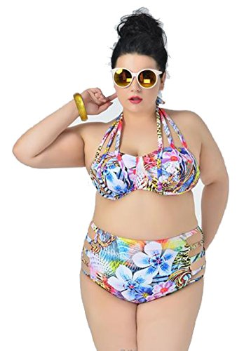 Cute due pezzi set bikini a vita alta Plus Size Motivo floreale Bendaggio Halter Swimsuit Flower XXXX-Large