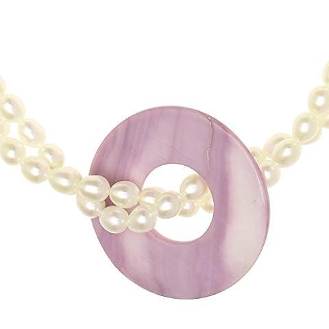 925 Sterling Silber 2reihige gedrehte Perlenkette mit weiße Perlen und Rosa Perlmuttscheibe 48CM