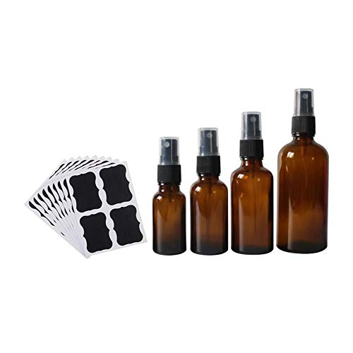 Fellibay Sprühflaschen aus Glas, bernsteinfarben, 15/30/50/100 ml, mit 10 Flaschen Aufklebern