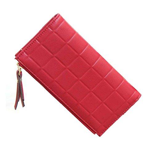 Miaomiao Borsa lunga della frizione della grata delle donne con il portafoglio in rilievo del portafoglio del portafoglio Doppio portachiavi della chiusura lampo profondo rosso