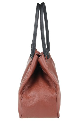 Borsa a Spalla da Donna in Vera Pelle - Made in Italy 46x28x16 cm Marrone