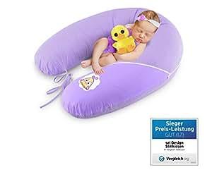 Sei Design bambino cuscino gravidanza, cuscino di cura XXL 190 x 30 cm, riempimento di perline in fibra 3-D - molto morbido e confortevole. Coprire con zip e ricamo di alta qualità