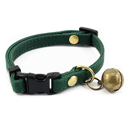 Sicherheitsgeschirre für Hunde Bell Katze Kragen weiches Gewebe Haustier Kragen junges Haustier Anti-verlorene Katze Seil Tinte grün_XS: 15CM-23CM * 1.0CM -