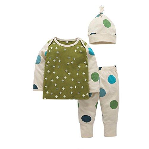 Baby Mädchen Junge Drucken T-Shirt Tops + Hosen + Hut Outfits Punkt Muster Kleider Set Hirolan Weich Hand Gefühl und hoch Qualität Materialien (70cm, Grün) (Kostüm-ideen Für Baby-jungen)