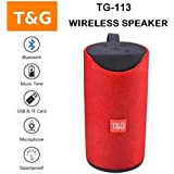 TechStairs TG113 Super Bass Splashproof Wireless Bluetooth Speaker Best Sound Quality Playing With Mobile/Tablet/Laptop/AUX/Memory Card/Pan Drive/FM (Red)
