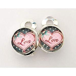 Kinder Ohrclips Herz Love rosa 10mm Motiv Cabochon Ohrringe handgefertigt by Schmuckphantasien in silber auch als…