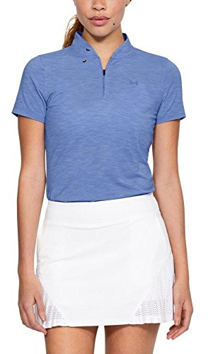 Under Armour Damen threadborne Zip Polo Shirt, Damen, Talc Blue/Talc Blue, Large (Under Armour Polos Frauen)