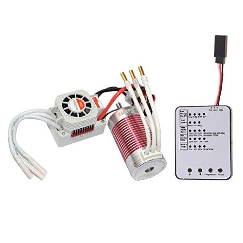 dailymall LED Programmierkarte + 60A ESC + 3665 3100KV Sensorless Motor Für 1/8 RC Auto Boot