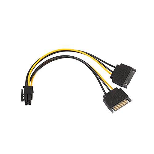 Wokee 20cm SATA Strom-Adapter,SATA 15 Pin Stecker auf PCI-E PCI Express 6Pin Grafikkarte Netzteilkabel,8-Zoll-Konverterkabel Können SATA Buchse SATA Stecker Internes SATA Strom-Kabel SATA-Stromkabel