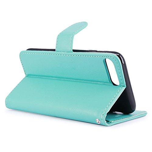 LK per Custodia iPhone 8 Plus / iPhone 7 Plus, Case in Pelle PU di Lusso Portafoglio con Fessure di carta Cover Protettiva - Menta Menta