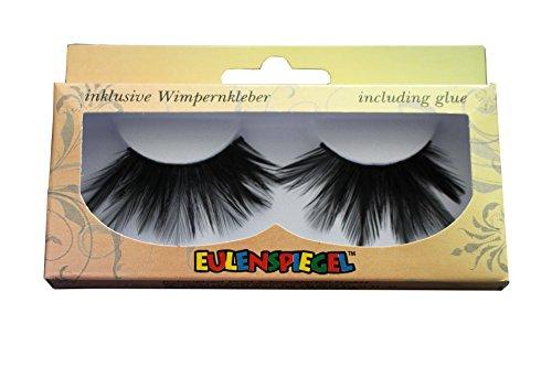 Eulenspiegel 000458 - falsche Wimpern, schwarze Federn, 1er Pack (1 x 1 Paar) (Halloween Wimpern)