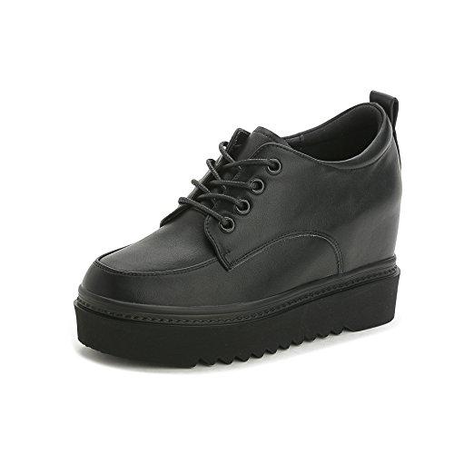 Damen Sneakers Keilabsatz Sneaker-Wedges Sportschuhe Freizeit Turnschuh Stiefeletten Schwarz