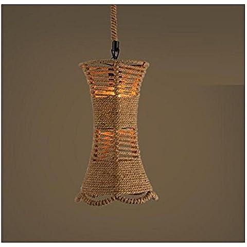 BJVB Hierro de tejido a mano Retro Loft cáñamo cuerda araña isla colgante luz lámpara colgante Lámpara sola cabeza redonda rústica lámpara . d