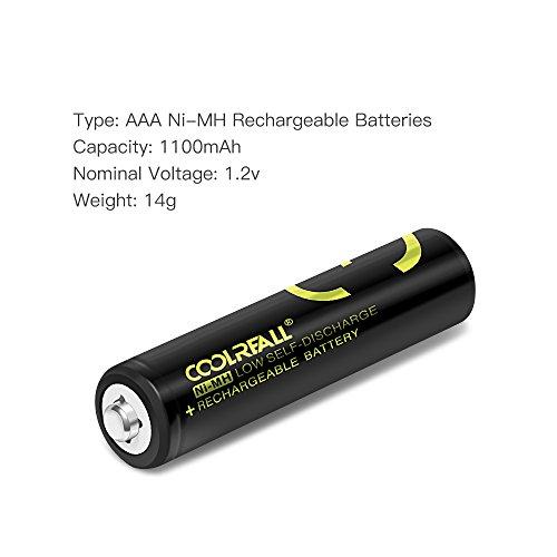 Batterie-RicaricabiliCoolreall-Pile-Ricaricabili-AAA-Ni-MH-1100mAh12V-Confezione-da-4-Pezzi