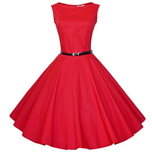 Maggie Tang ANNÉES 5060's Vintage Audrey Hepburn Swing Rockabilly Boule Peignoir Robe Rouge - Rouge