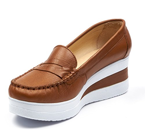 BOBERCK Daphne Collection Womens Platform Mocassin Tan