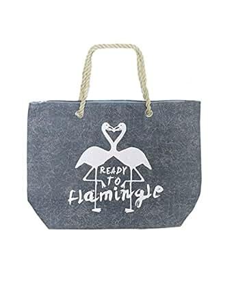 """Borsa mare """"Flamingo"""" in tela con manici in corda in 4 colori - KAMIUSTORE (jeans chiaro)"""