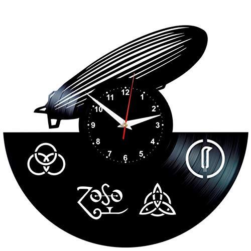 EVEVO LED Zeppelin Frankreich Wanduhr Vinyl Schallplatte Retro-Uhr groß Uhren Style Raum Home Dekorationen Tolles Geschenk Wanduhr LED Zeppelin