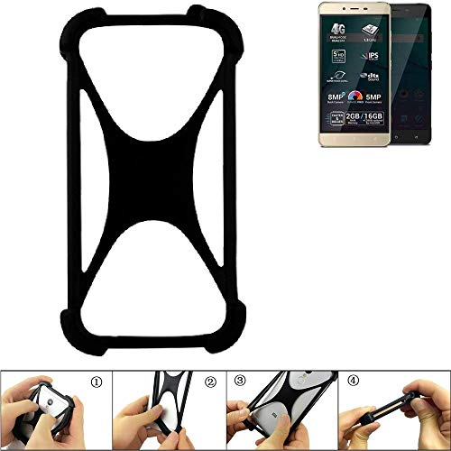 K-S-Trade Handyhülle für Allview P7 Pro Schutz Hülle Silikon Bumper Cover Case Silikoncase TPU Softcase Schutzhülle Smartphone Stoßschutz, schwarz (1x)