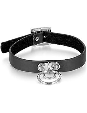 Oidea Damen Herren Lederhalsband Choker, Punk Rock Lederkette Halskette Breit Halsband mit Kreis Rund Ring Anhänger...