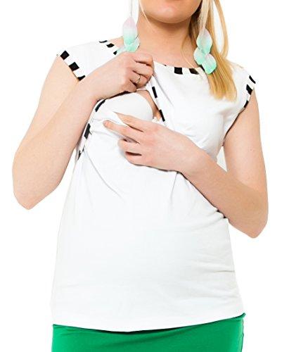 Mija - 2 en 1 Chemise maternité et de soins tricot de corps 95% coton 9056 Blanc
