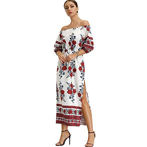 d82076e69 Maxi Vestidos de Playa de Gasa con Hombros Descubiertos para Mujer - Blanco  - Medium