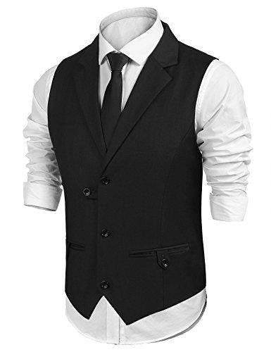 CHIGANT Herren Anzugweste Business Weste Basic Mode Kurzweste Slim Fit Casual Gilet Smokingweste mit Knöpfe und Tasche