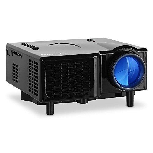 auna LCDP • Mini Beamer • LED-Projektor • portabel • AV-VGA-Eingang • Kontrast: 300:1 • 40 ANSI Lumen • Projektionsgröße: 43 - 152 cm • 230 oder 12 V Betrieb • Fernbedienung • schwarz