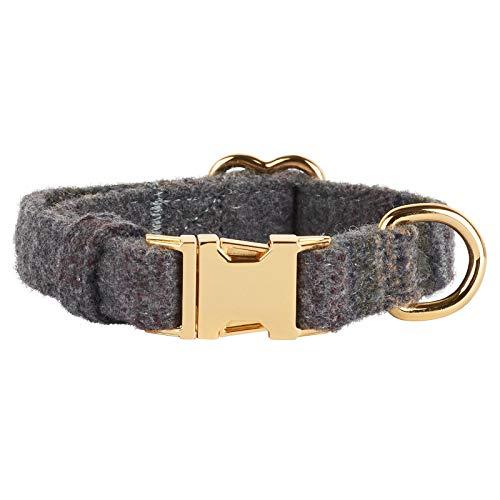 Thoroughbeds - Dunkelgraue Hundehalsband aus Tweed mit Roségoldschnalle - Verschiedene Größen - Tweed-band